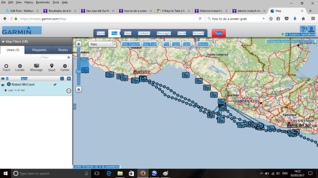 Map from our Inreach from Huatulco to El Salvador